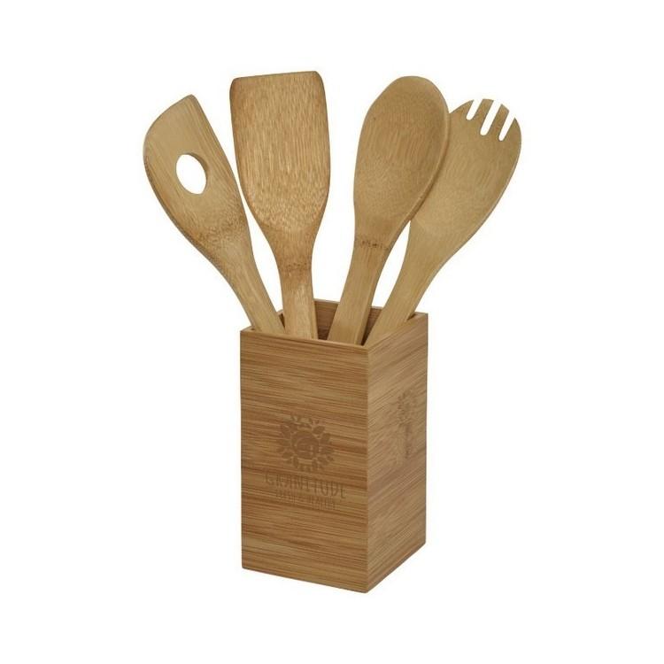 Ensemble de 4 ustensiles de cuisine Baylow avec pot - Produits en bois à prix grossiste