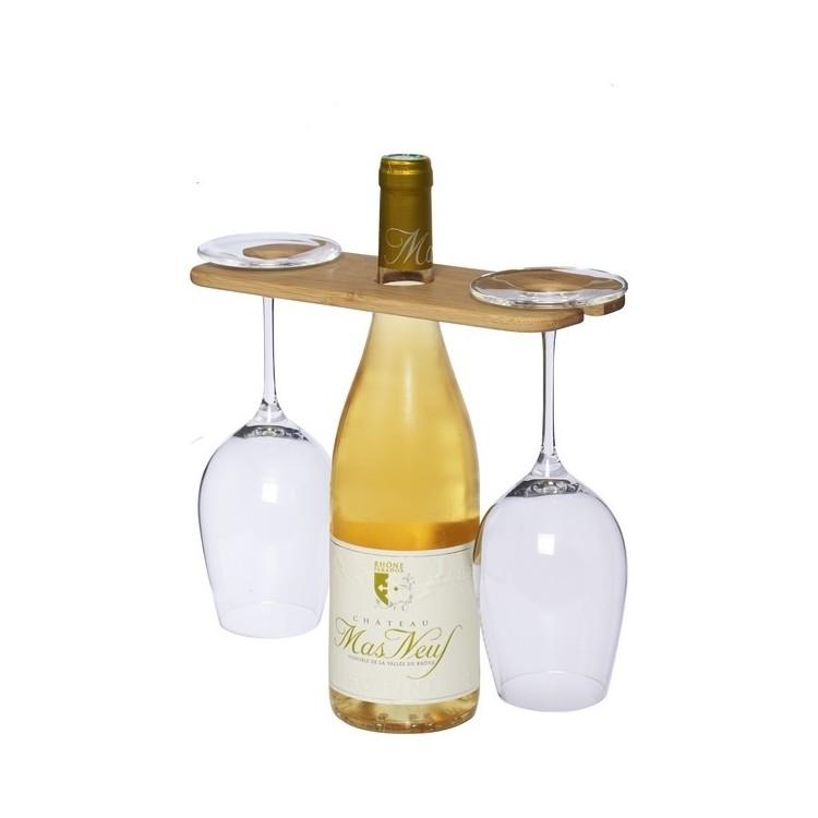 Support pour bouteille et verres de vin Mill - Sommelier à prix grossiste