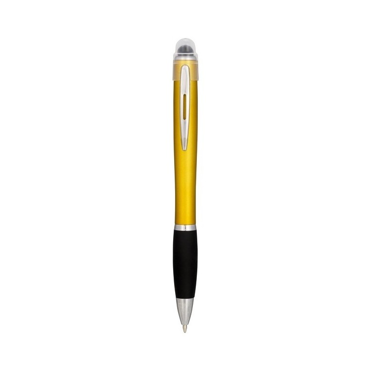 Stylo à bille lumineux Nash avec corps de couleur et grip noir - Stylo lumineux à prix grossiste