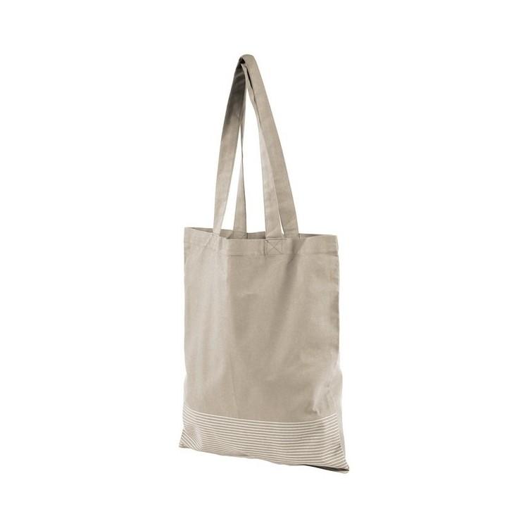 Sac shopping coton 140 g/m² avec rayure argentée Aylin - Totebag à prix grossiste