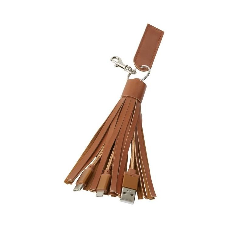 Câble tissu 3 en 1 Tassel - porte-clés chargeur à prix grossiste