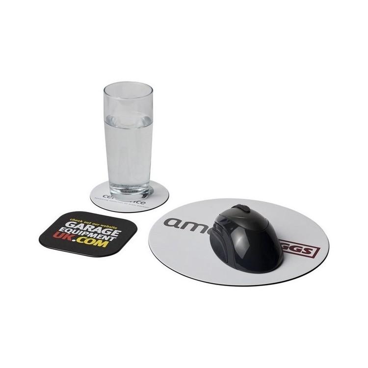 Ensemble de tapis de souris et de dessous de verre Brite-Mat® 4 - Produit recyclé à prix grossiste