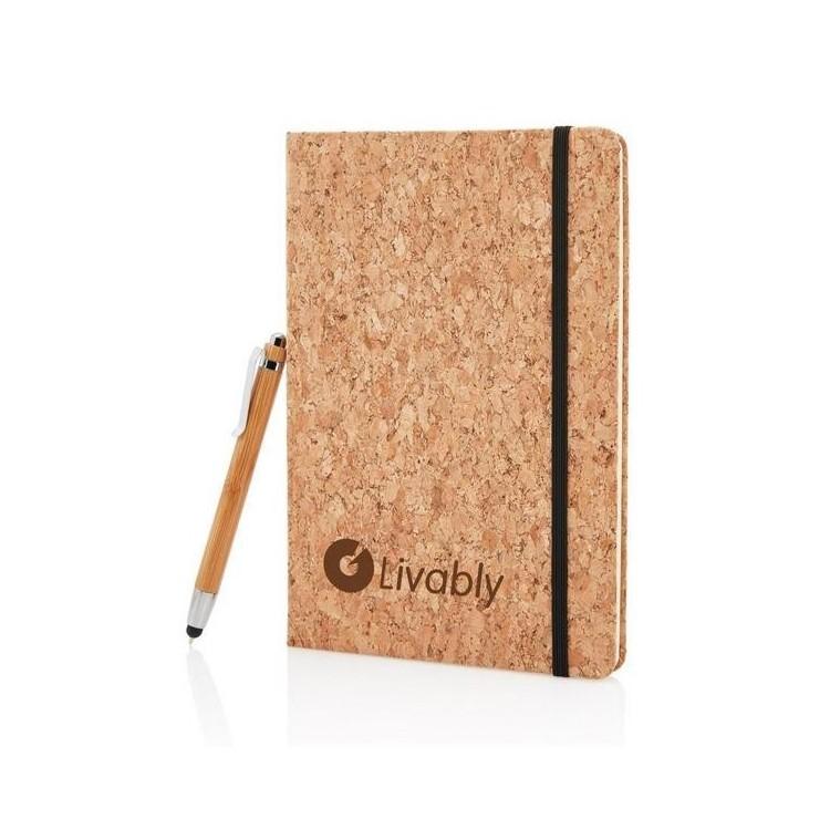Carnet de notes en liège avec stylo en bambou A5 à prix de gros - Stylo en bois à prix grossiste