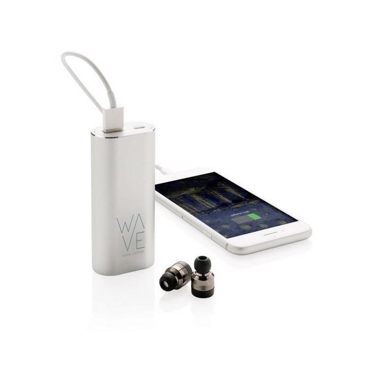Oreillettes sans fil avec powerbank 2000 mAh - Powerbank / batterie externe à prix grossiste