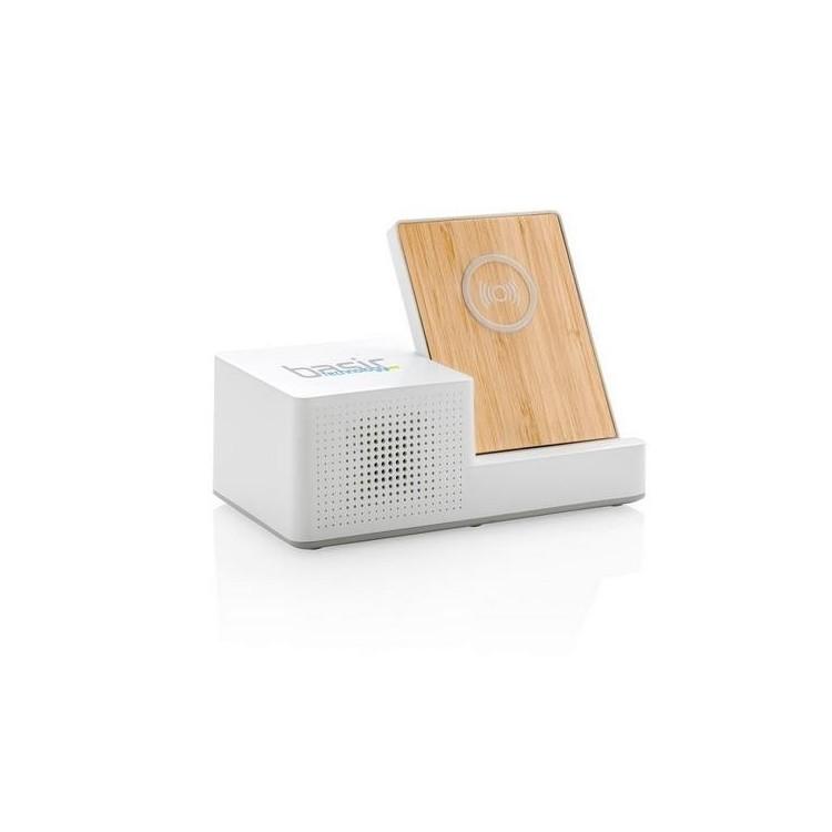Chargeur à induction 5W Ontario avec haut-parleur - Produit en bois à prix de gros