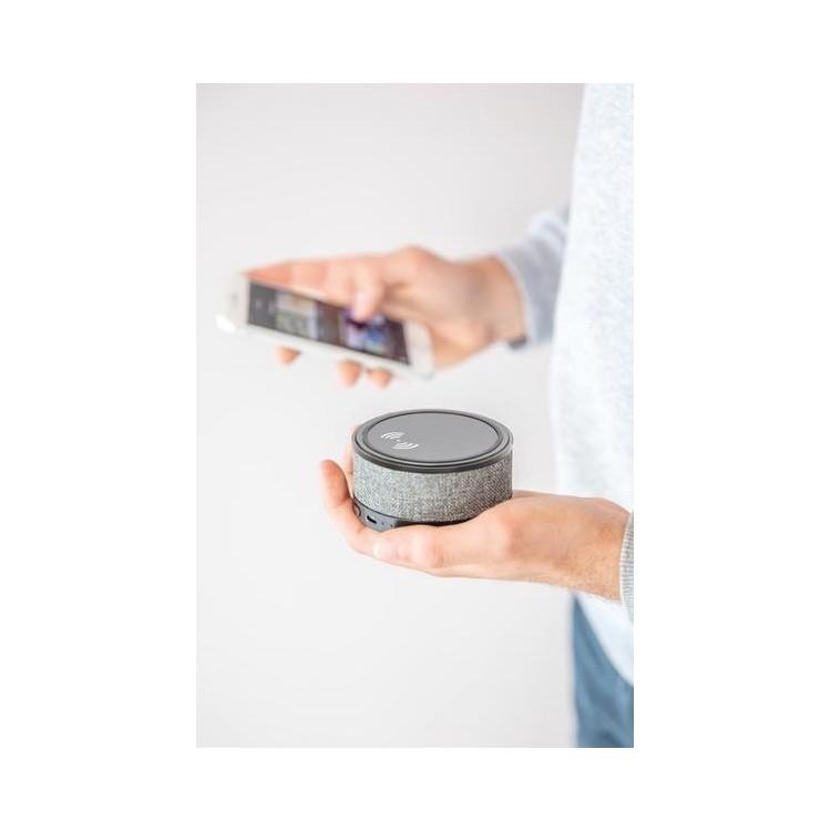 Chargeur à induction finition tissu avec enceinte - Bluetooth à prix de gros