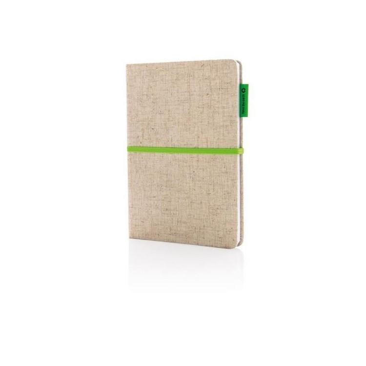 Carnet A5 à couverture en jute et coton à prix de gros - Article de papeterie écologique à prix grossiste