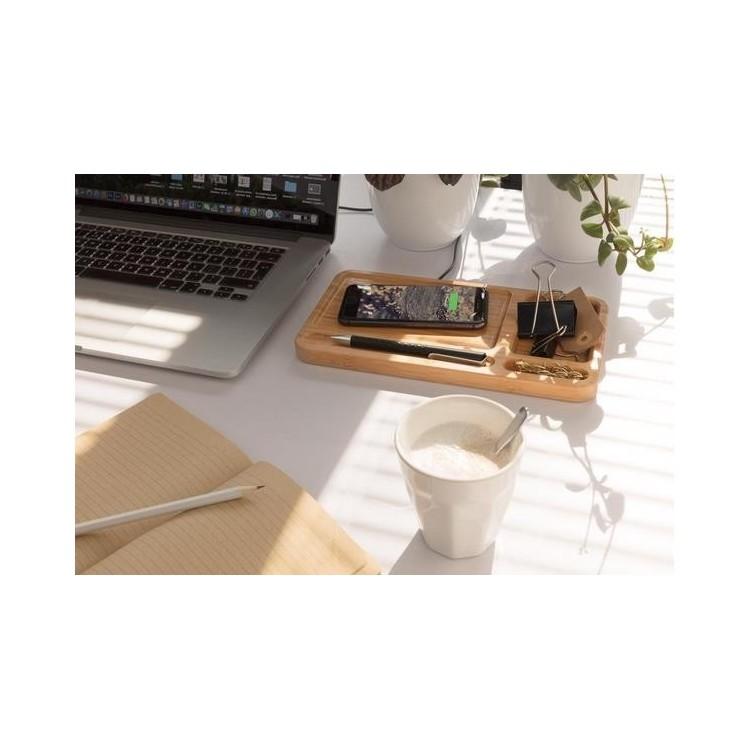 Organiseur de bureau avec induction 5W à prix de gros - Produits en bois à prix grossiste