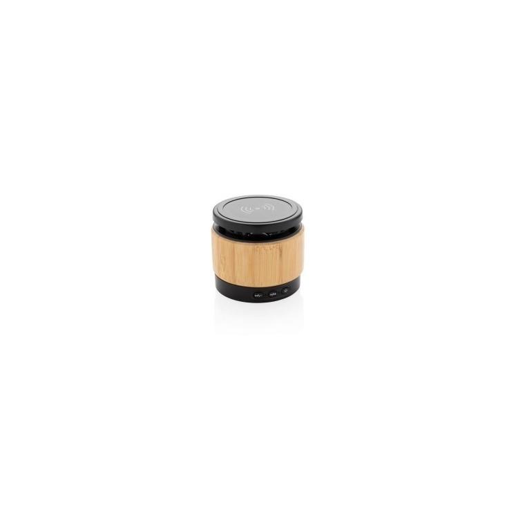 Enceinte 3W avec chargeur à induction en bambou - Bluetooth à prix grossiste