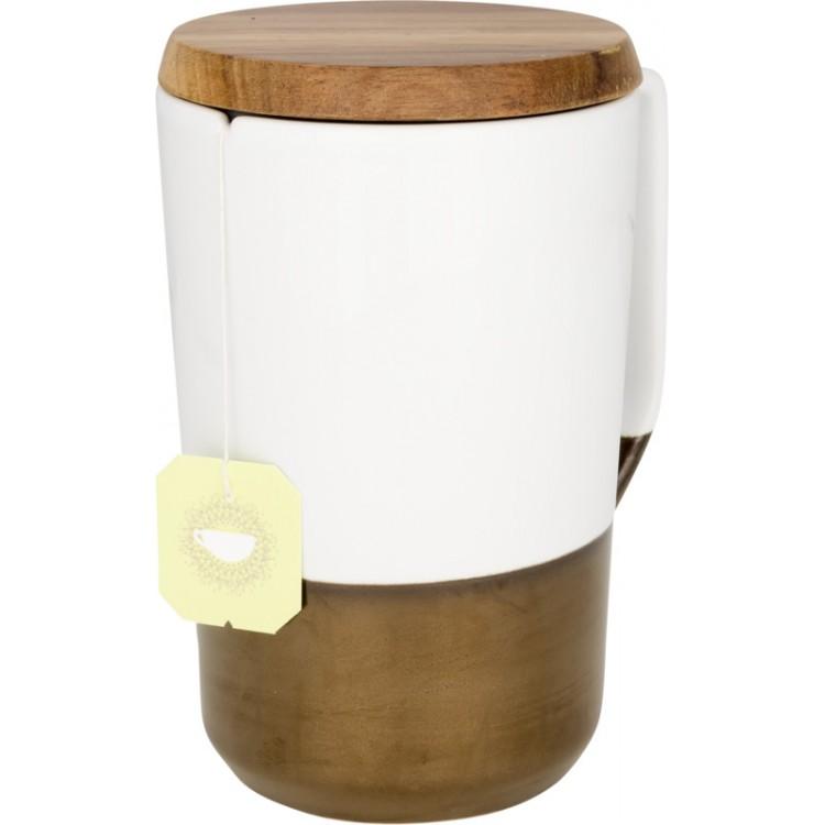 Tasse en céramique pour café et thé Tahoe avec couvercle en bois 470ml à prix grossiste - Tasse à prix de gros
