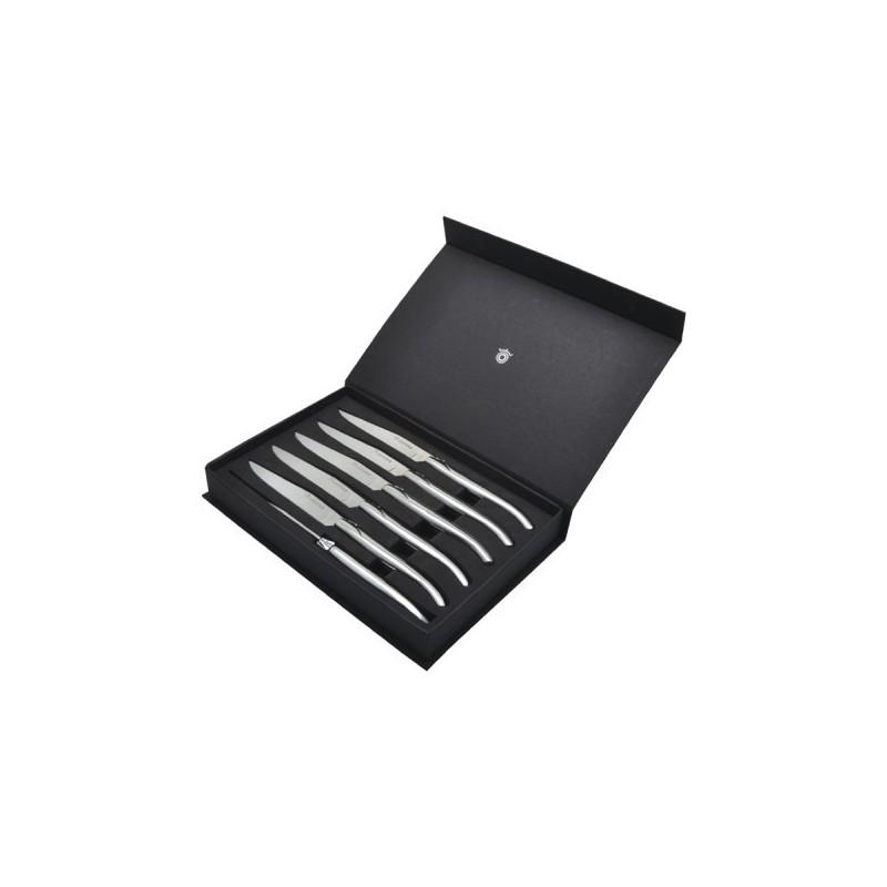 Set de 6 couteaux Laguiole de table, tout inox - Couvert à prix grossiste