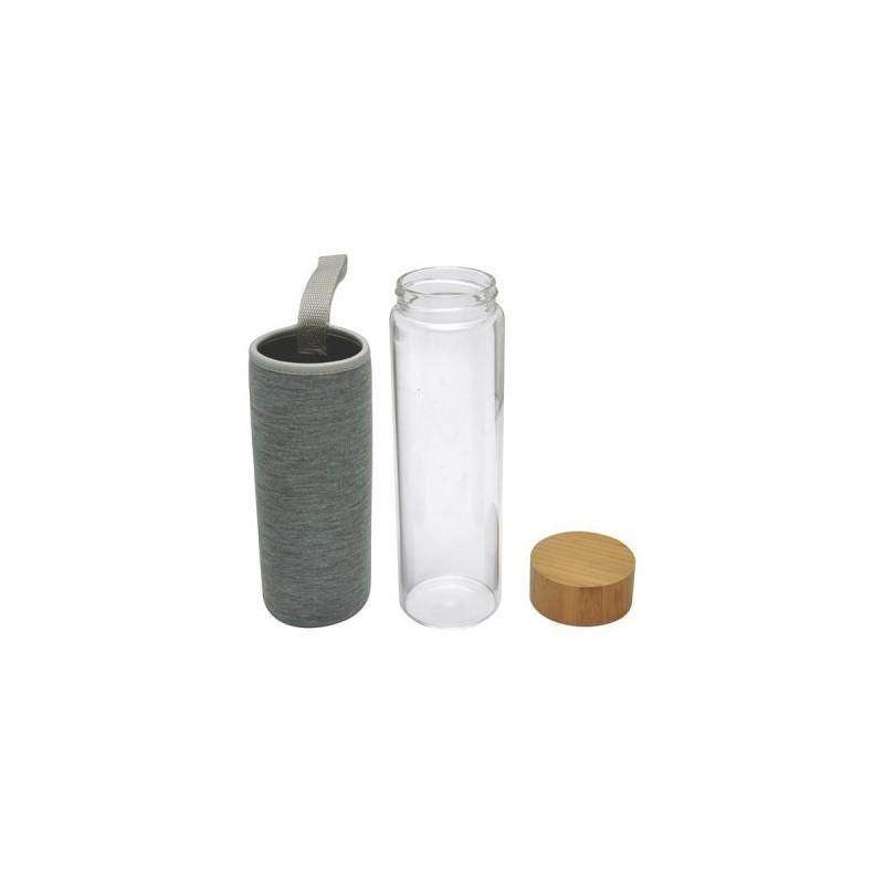 Bouteille en verre simple paroi 'Ocha', 500 ml, housse néoprène à prix grossiste - Bouteille à prix de gros