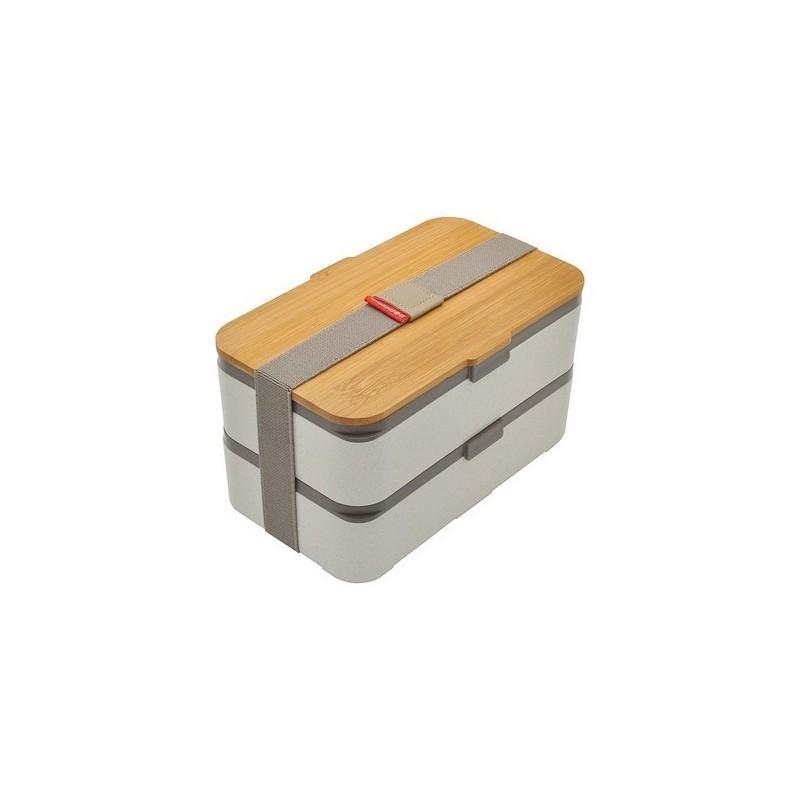 Bento Etik en cosse de riz avec couvercle en bambou - Lunch box à prix de gros