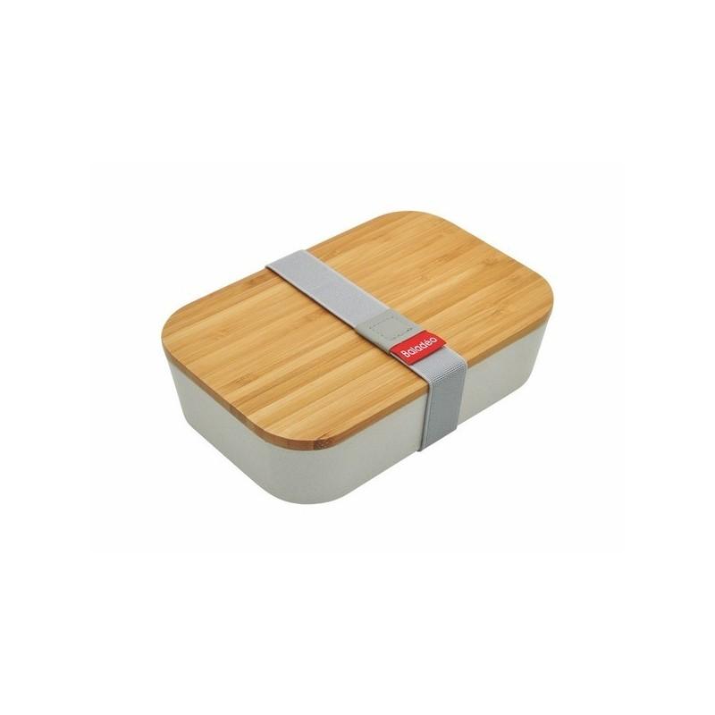 Bento en fibre de blé avec couvercle en bambou à prix grossiste - Produit en bois à prix de gros